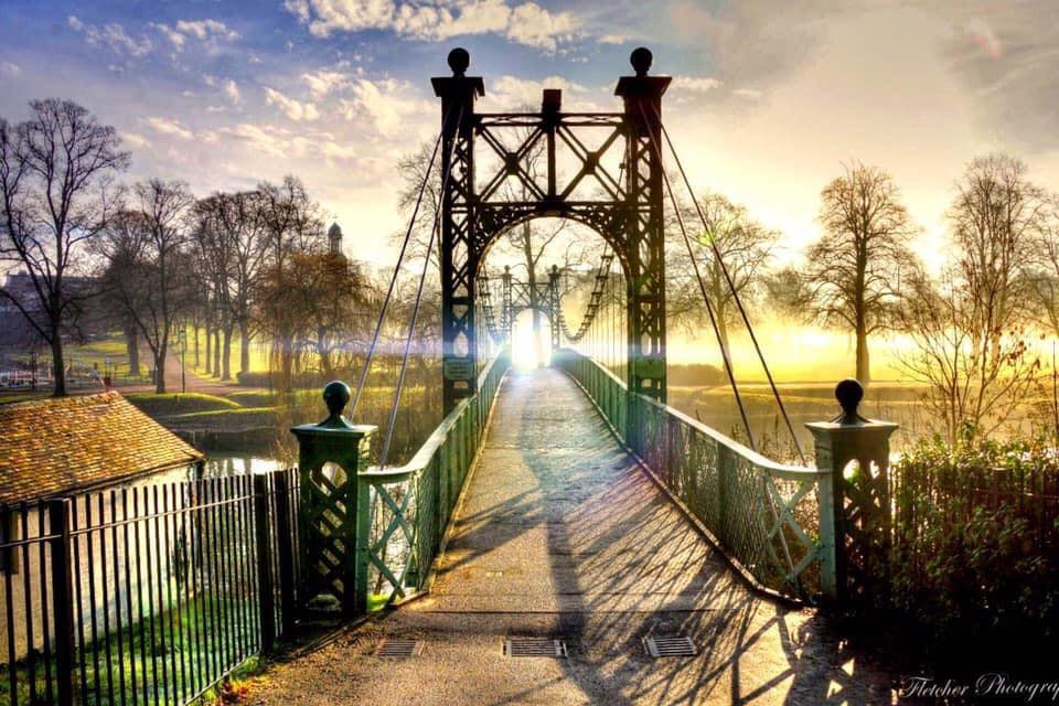 Footbridge in sunlight in Shropshire