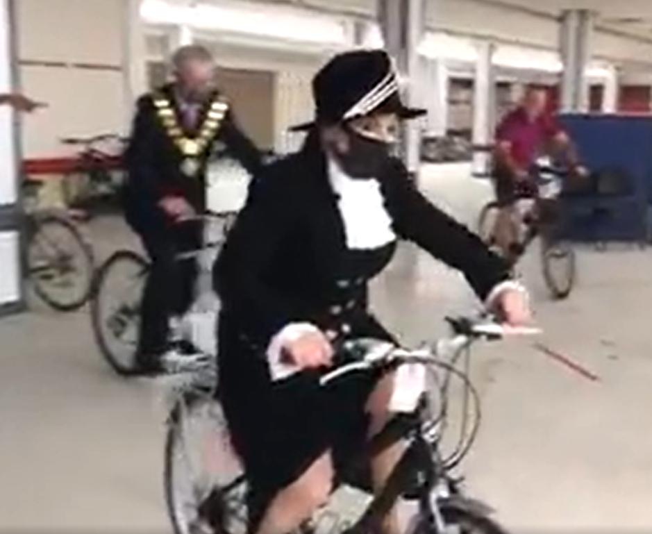 High Sheriff of Shropshire and Mayor of Shrewsbury riding bikes